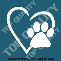 PET PAW LOVE HEART DOG CAT DECAL STICKER 4x4 CAR TRUCK UTE WINDOW DECOR PET LOVE