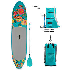 "Supflex Flowery 10'x30""x6"" Paddle + Pump + Leash + fins + Backpack"