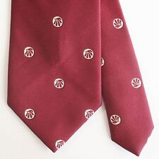 VINTAGE Chipp Maroon Tie with Ivory Fans Made in USA