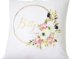 "Personalised name hoop 16"" white cushion cover chic girl/Nursery/wedding gift"