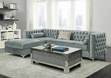 Modern Sectional Living Room Furniture Gray Sofa Couch & Storage Chaise Set IR7H