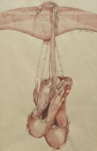 AUSTRALIAN INK & WASH DRAWING JANE C HYLAND - BALLET SHOES-THE END- 1981   P75