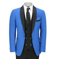 Mens 3 Piece Tuxedo Suit Wedding Party Tailored Fit Dinner Jacket in Royal Blue