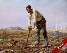 TIRED FARMER RESTING ON A HOE IN FIELD ART DAILY LIFE PAINTING REAL CANVAS PRINT