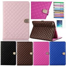 For iPad Air 2 Quilted PU Leather Folio Case Smart Cover Stand Sleep Wake #CN2