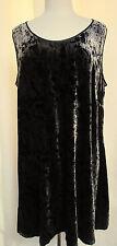 EILEEN FISHER WOMAN Black Iridescent Velvet Shaped Dress U-Neck Slight A  Sz 2X