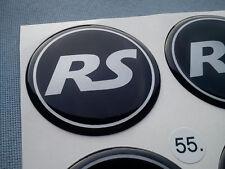 (RS55SS) 4x RS Embleme für Nabenkappen Felgendeckel 55mm Silikon Aufkleber