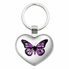 Butterfly with Flowers Heart Love Metal Keychain Key Chain Ring