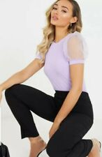 quiz lilac puff sleeve rib  organza  t-shirt uk 10 bnwt