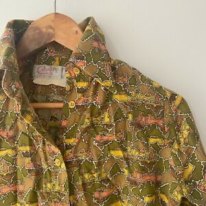70's Retro COOL Vintage Button Up Ladies Shirt Cotton Size 12 Bust 34 inches