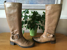 Ladies Russell & Bromley tan leather knee high pull on boots UK 5.5 EU 38.5