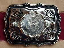 NEW USA AMERICAN HALF DOLLAR SILVER COLOURED METAL BELT BUCKLE WESTERN,COWBOY