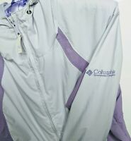 Womens Columbia Coat Size Small Purple Off White Waterproof Removable Hood