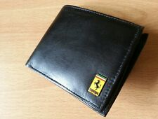 Ferrari wallet genuine leather metal enamel badge bi-fold quality coin pouch new