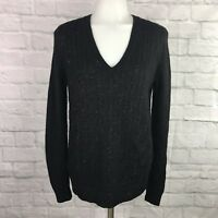 Ann Taylor LOFT Women's Small Sweater Black Sequins Cable Knit V-Neck
