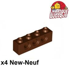 Lego Technic - 4x Brique Brick 1x4 hole marron/reddish brown 3701 NEUF