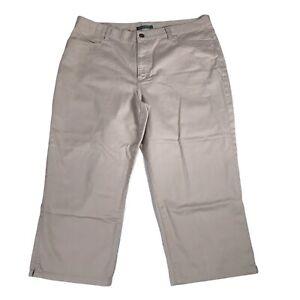 Lauren Ralph Lauren Classic Midcalf Crop Capri Career Dress Pants Khaki Beige 14