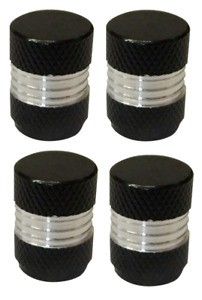Pack of 4 Metal Dust Caps Black and Silver Round High Quality Aluminium Caps