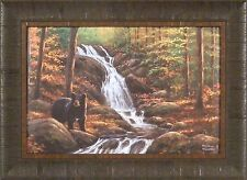 HIDDEN FALLS by Abraham Hunter 17x23 FRAMED PRINT Black Bear Autumn Trees Creek