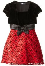AMY BYER Girls Black Velvet Red Flocked Organza Christmas Holiday Dress Size 6