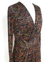 ISSA London Silk black abstract print faux wrap dress uk12