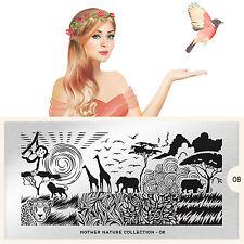 Moyou London Stamping Schablonen Plate Safari Blätter Löwe Mother Nature #08