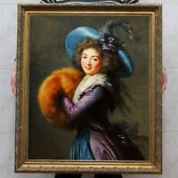 Hand-painted Old Master-Art Antique Oil painting noblewoman girl on Canvas