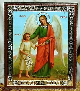Guardian Angel and human soul, icon with annotations, individually packed wood