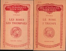 Petrarque-Petrarca - LES RIMES LES TRIOMPHES - LE RIME ITRIONFI -