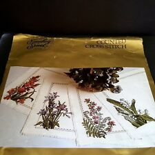 Something Special Counted X Stitch Placemats Kit Spring Flowers Vtg 1990 Open