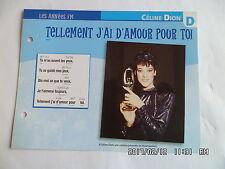 CARTE FICHE PLAISIR DE CHANTER CELINE DION TELLEMENT J'AI D'AMOUR POUR TOI