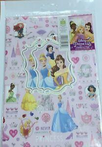 disney princess wrapping paper. 2 Sheets And 2 Tags.