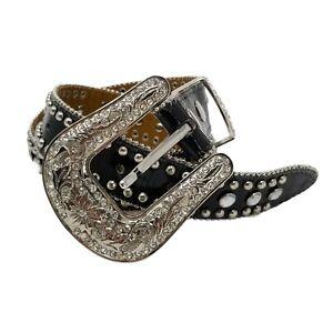 Nocona Girls Black N4425001 Leather Crystal Crosses Western Bling Belt Size 24