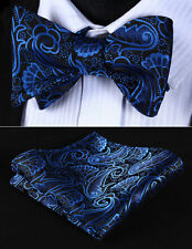 BP819BS Blue Black Paisley Bowtie Men Silk Self Bow Tie handkerchief set