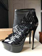 River Island Ladies Ankle High Heel Shoe Platform Boot Black Leather Size 6 39