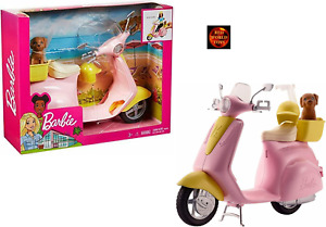 Barbie Scooter Moped Pink Motorbike with Puppy Dog in Carrier FRP56 New in Box