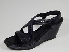 New Black Blue Amalfi Rangoni Strappy Snakeskin Heels Wedge Sandals 9.5