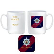 IRISH GUARDS CUSTOMISED Ceramic Mug & Coaster Regiment Badge Tie Colours & Motto