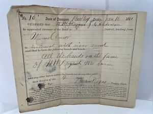Antique 1891 Bradley County Tennessee Road order Cleveland TN paper document old
