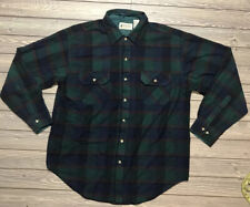 Vintage Northwest Territory Scotch Plaid Flannel Shirt Men's Size L Blue Green