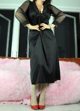 VTG Black Satin Nylon Lacy Sheer Fancy Beaded Sexy Nightgown Slip Dress sz 36