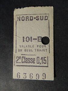 ANCIEN  TICKET METRO PARIS   NORD SUD  Berlier-Janicot annees 1910 1930 ligne B