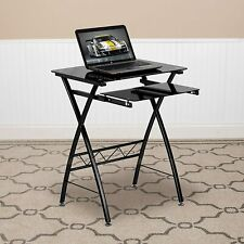 Flash Furniture Black Tempered Glass Computer Desk w/Pull-Out Keyboard NEW