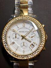 Michael Kors Gold Mk Clear Chronograph Crystal Ladies Mk5374 Watch