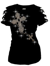 Bling Bling Rhinestone T-Shirt Two Connected Cross Ripped Cut Out Short S~3XL