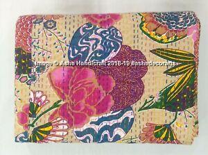 Indian Kantha Quilt Beige Bedspread Queen Vintage Bedding Fruit Print Patchwork