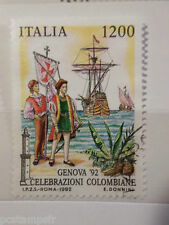 ITALIE ITALIA 1992, timbre 1980, EPOPEE C. COLOMB, oblitéré, COLUMBUS, STAMP