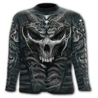 Spiral Skull Amour Men's Black All Over Print Longsleeve T-shirt - Gothic,Goth