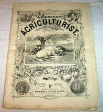 1871 Antique AMERICAN AGRICULTURE Magazine Farming Cows Poultry Bees Oxen etc.