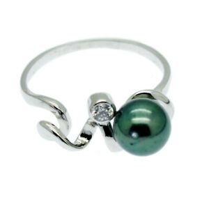 Green Cultured Pearl Ring with Faux Diamond Solitaire Sterling Silver Size L M Q